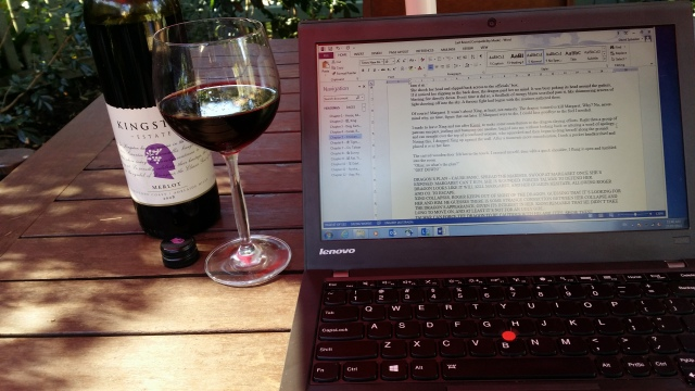 Writing outdoors with a nice 2008 bottle of Merlot with little crystals at the bottom because it's so awesome.
