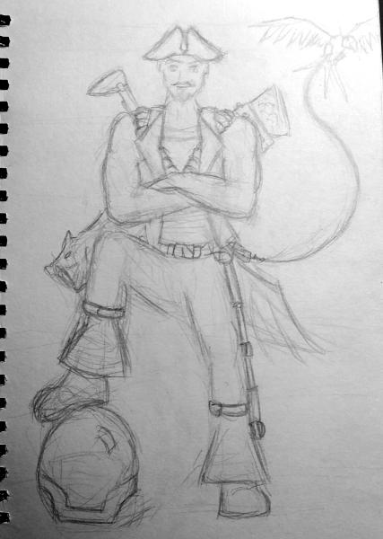Rough concept sketch of Roger