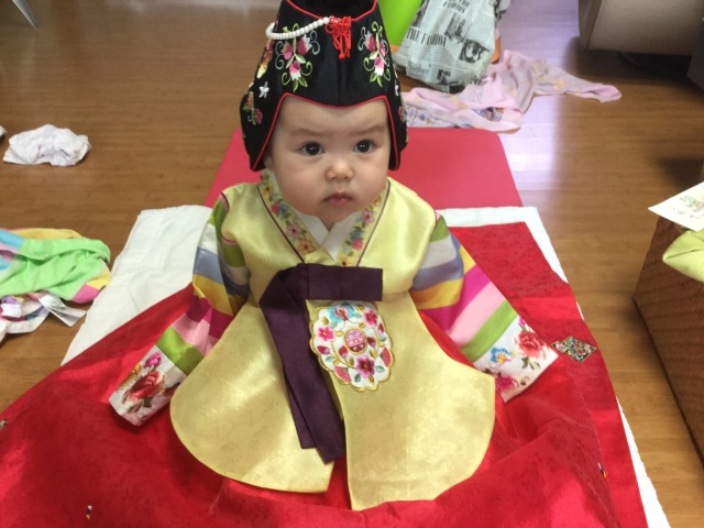 Seven month old in a hanbok